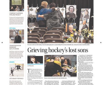 """Winnipeg Free Press front page with headline """"Grieving hockey's lost sons"""""""