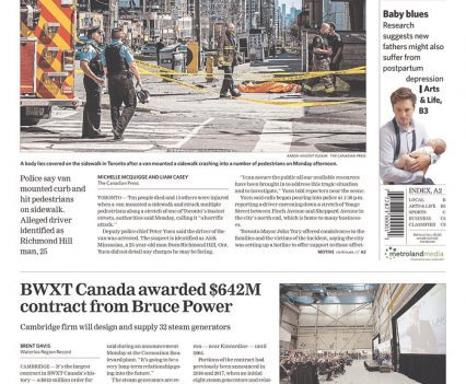"""Waterloo Region Record front page with headline """"10 dead, 15 injured in van incident authorities call a 'horrific attack'"""""""