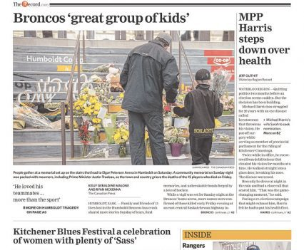 """Waterloo Region Record front page with headline """"Broncos 'great group of kids'"""""""