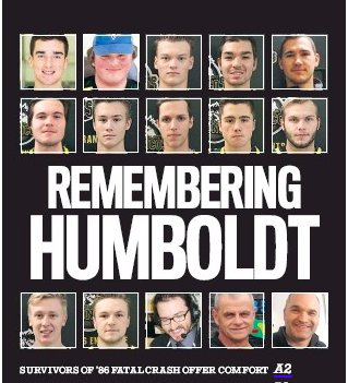 "Regina Leader-Post front page with headline ""Remembering Humboldt"""