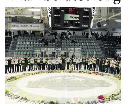 """Prince Albert Daily Herald front page with headline """"#HumboldtStrong"""""""