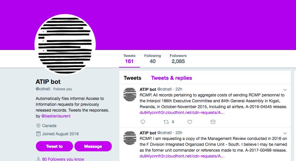 ATIP bot Twitter profile