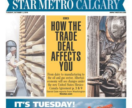 """Star Metro Calgary front page with USMCA headline """"How the trade deal affects you"""""""
