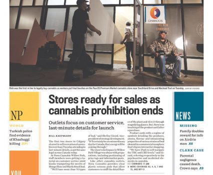 "Calgary Herald front page with headline ""Stores ready for sales as cannabis prohibition ends"""