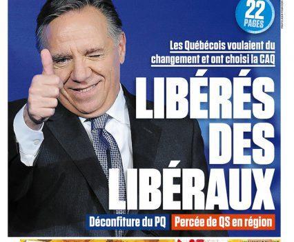 """Le Journal de Montréal front page with headline """"Libérés des libéraux"""""""
