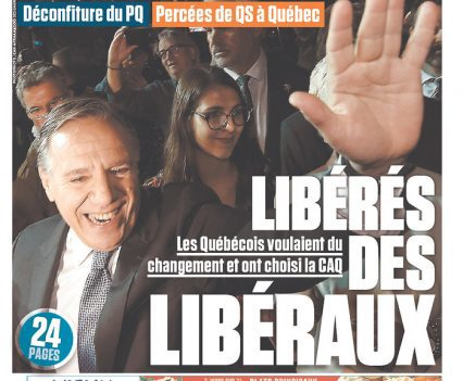 """Le Journal de Québec front page with headline """"Libérés des libéraux"""""""