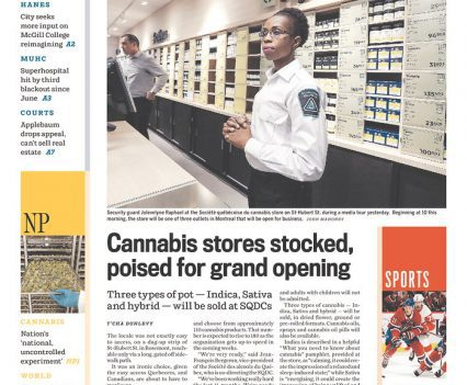 "Montreal Gazette front page with headline ""Cannabis stores stocked, poised for grand opening"""