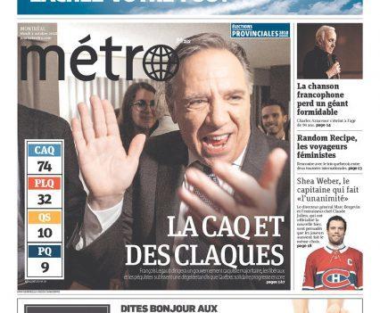 """Métro front page with headline """"La CAQ et des claques"""""""