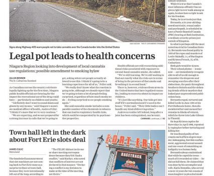 "Niagara Falls Review front page with headline ""Legal pot leads to health concern"""