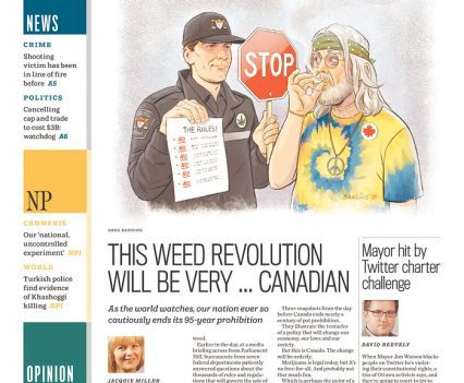 "Ottawa Citizen front page with headline ""This weed revolution will be very ... Canadian"""