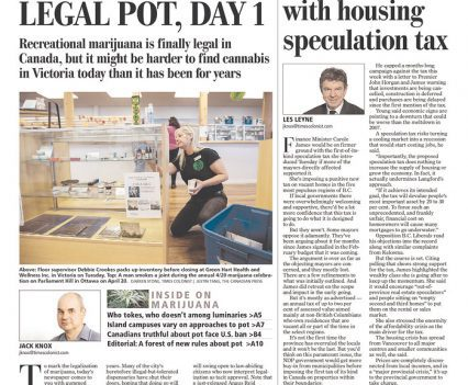 "Times Colonist front page with headline ""Legal pot, day 1"""