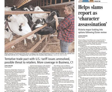 """Times Colonist front page with headline """"Island dairy farmers fear losses under new NAFTA"""""""