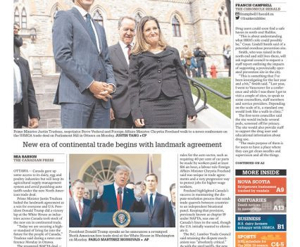 """The Chronicle Herald front page with headline """"The deal is done"""""""