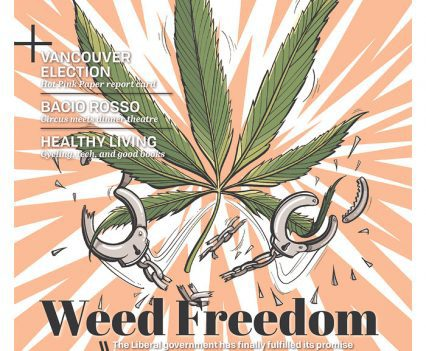 "The Georgia Straight cover page with headline ""Weed Freedom"" and illustration of marijuana leaf and broken handcuffs"