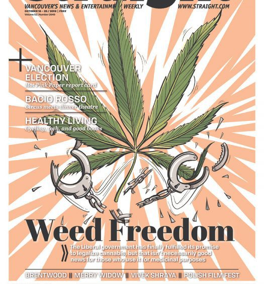"""The Georgia Straight cover page with headline """"Weed Freedom"""" and illustration of marijuana leaf and broken handcuffs"""