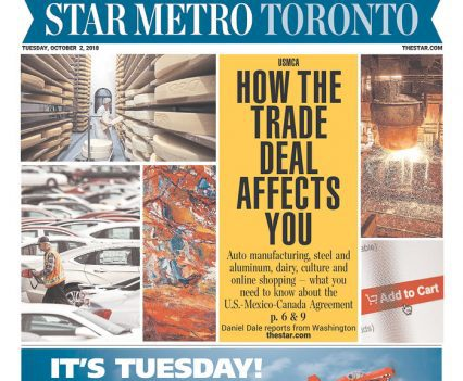 """Star Metro Toronto front page with USMCA headline """"How the trade deal affects you"""""""