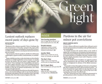"Toronto Star front page with headline ""Green light"" and photo of marijuana leaf"