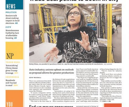 """Windsor Star front page with headline """"Trade deal points to boom in city"""""""