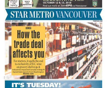 """Star Metro Vancouver front page with USMCA headline """"How the trade deal affects you"""""""
