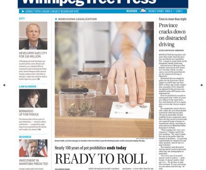 "Winnipeg Free Press front page with headline ""Ready to roll"""