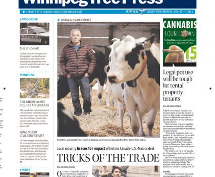 """Winnipeg Free Press front page with headline """"Tricks of the trade"""""""