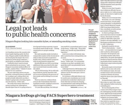 "Welland Tribune front page with headline ""Legal pot leads to public health concerns"""