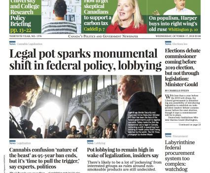 "The Hill Times front page with headline ""Legal pot sparks monumental shift in federal policy, lobbying"""