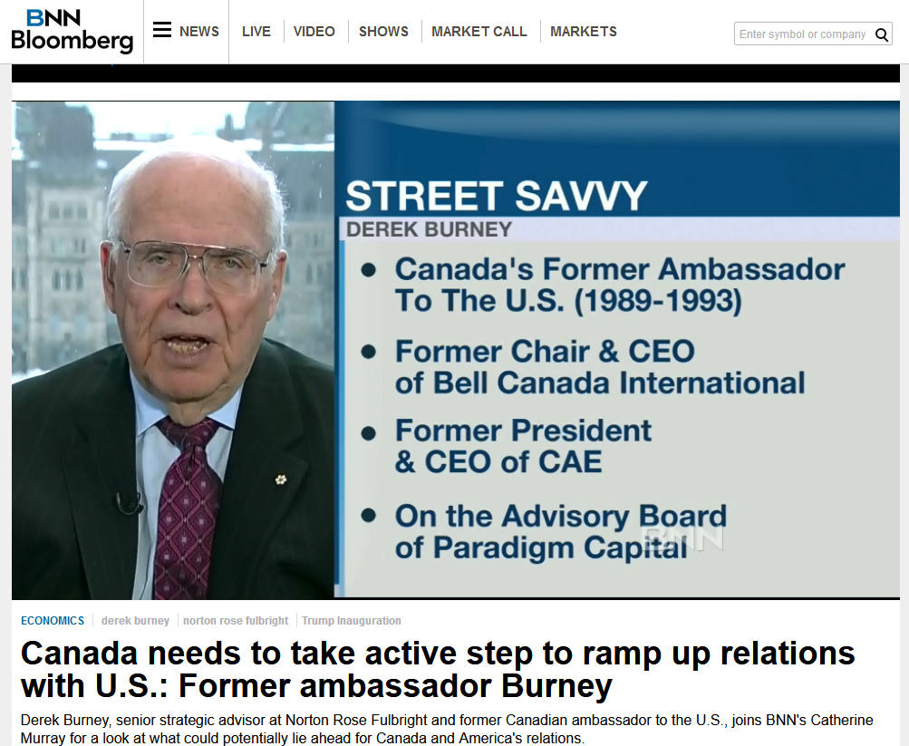 """Appearing on BNN Bloomberg on January 20, 2017, while a director of TransCanada, neither the network nor Burney disclose his TransCanada directorship nor his GardaWorld advisory position. In the course of the discussion, Burney says, """"There are a lot of other areas where Canada has mutual interest with the United States. I'm talking about security, I'm talking about energy, I'm talking about infrastructure."""""""
