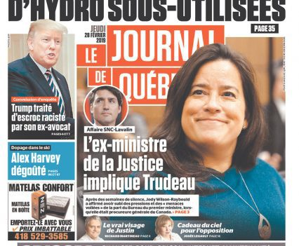 "Le journal de Québec front page with headline ""L'ex-ministre de la Justice implique Trudeau"" and a photograph of Jody Wilson-Raybould"