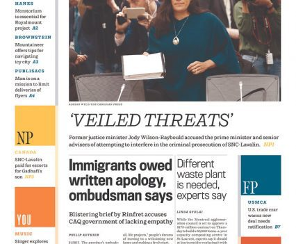 Montreal Gazette front page with quote headline 'Veiled threats' and a photograph of Jody Wilson-Raybould