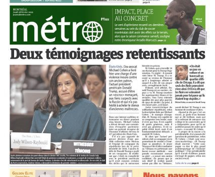 "Métro front page with headline '""Deux témoignages retentissants"" and a photograph of Jody Wilson-Raybould testifying"