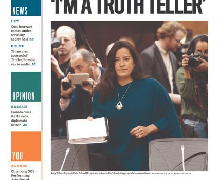 Ottawa Citizen front page with headline 'I'm a truth teller' in single quotes and a photograph of Jody Wilson-Raybould