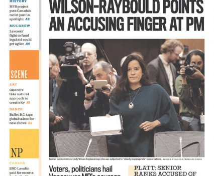 "Vancouver Sun front page with headline ""Wilson-Raybould points an accusing finger at PM"" and a photograph of Jody Wilson-Raybould"