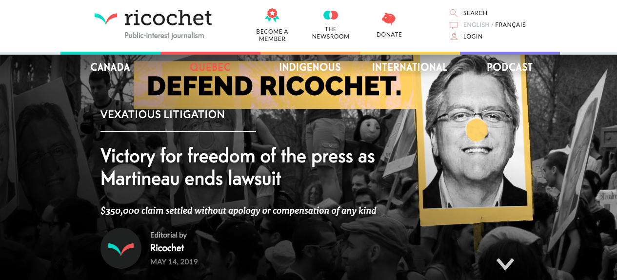 """Screenshot of Ricochet story """"Victory for freedom of the press as Martineau ends lawsuit"""". Subheading: $350,000 claim settled without apology or compensation of any kind"""
