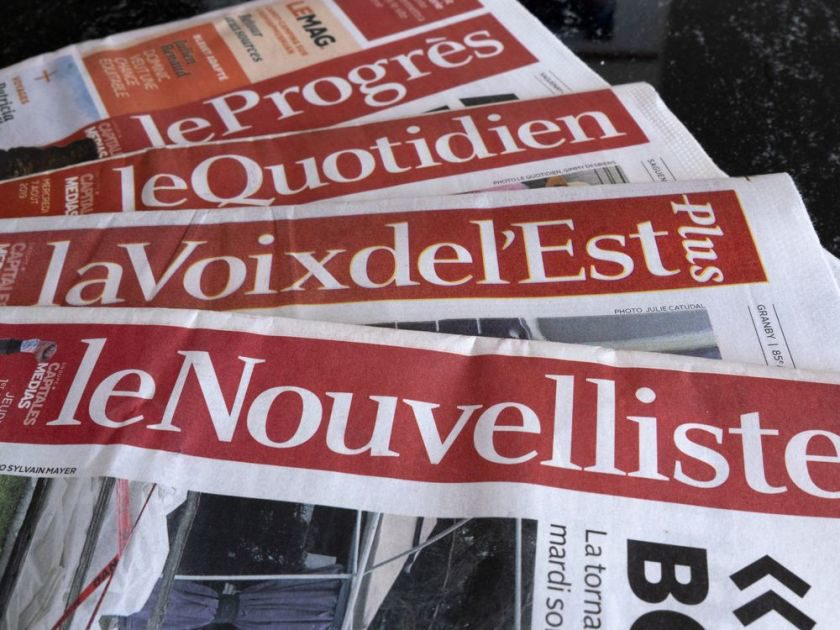 A selection of newspapers owned by Groupe Capitales Medias (GCM) are pictured in Montreal on August 19, 2019