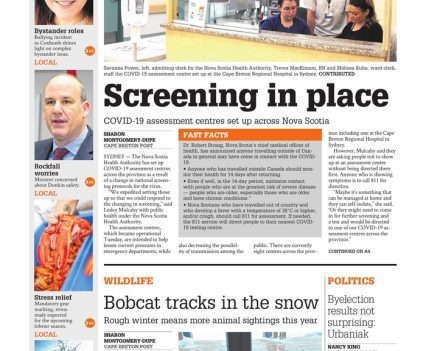 """Cape Breton Post front page with lead story headline """"Screening in place"""""""