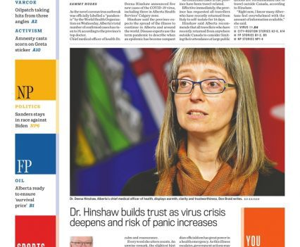 """Calgary Herald front page with lead story headline """"Virus outbreak ruled a pandemic"""""""