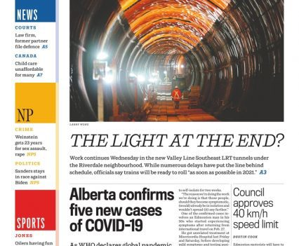 """Edmonton Journal front page with headlines """"The Light at the End"""", """"Alberta confirms five new cases of COVID-19"""""""