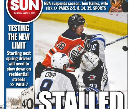 """Edmonton Sun front page with lead story headline """"Stalled"""""""