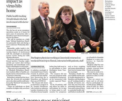 """The Hamilton Spectator front page with lead story headline """"Doctor tests positive for COVID-19"""""""