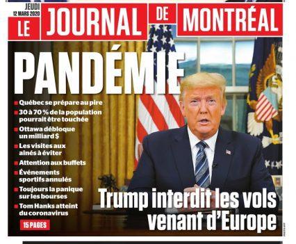 """Le journal de Montréal front page with lead story headline """"Pandémie"""""""