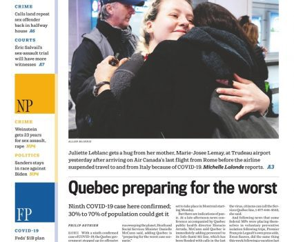 """Montreal Gazette front page with lead story headline """"Home, sweet home"""", """"Quebec preparing for the worst"""""""