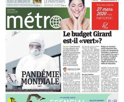 "Métro front page with lead story headline ""Pandémie mondiale"""