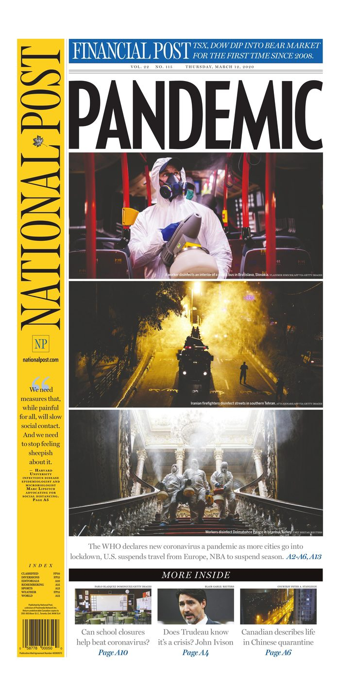 """National Post front page with lead story headline """"Pandemic"""""""
