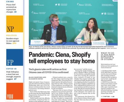 """Ottawa Citizen front page with lead story headline """"Pandemic: Ciena, Shopify tell employees to stay home"""""""""""