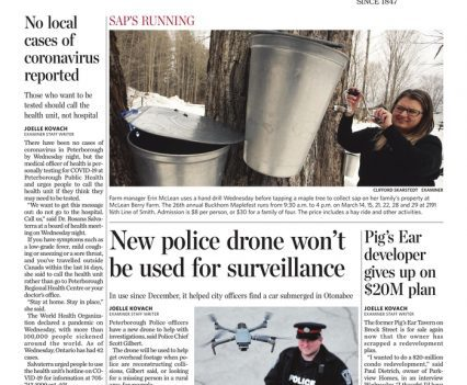 """The Peterborough Examiner front page with headlines """"No local cases of coronavirus reported,"""" """"New police drone won't be used for surveillance"""""""