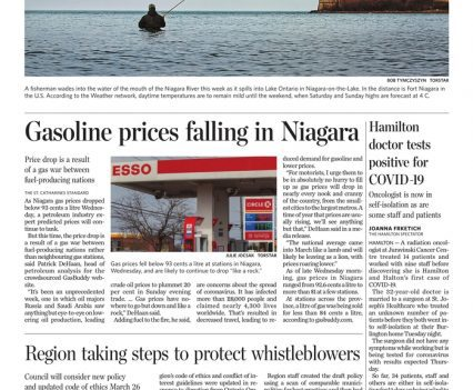 """The Standard front page with lead story headline """"Gasoline prices falling in Niagara"""""""