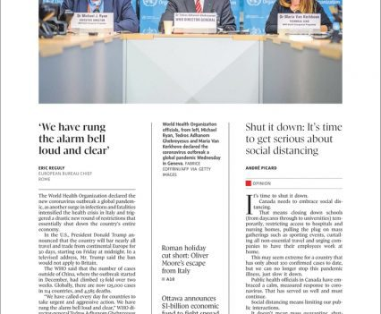 """Globe and Mail front page with lead story headline """"WHO declares coronavirus a pandemic as Italy shuts down"""""""