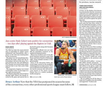 """Toronto Star front page with lead story headline """"NBA suspends season"""""""