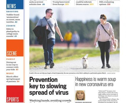 """Vancouver Sun front page with lead story headline """"Prevention key to slowing spread of virus"""""""